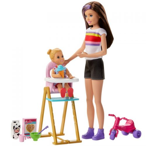 Zestaw lalka barbie opiekunka + dziecko GHV87