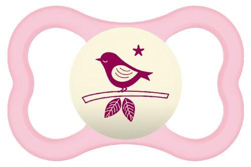 Smoczek uspokajający dla niemowląt Mam Air Night 16m+ różowy ptaszek