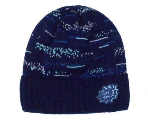 Zimowa czapka dla dziecka z pomponem granatowa 50-52