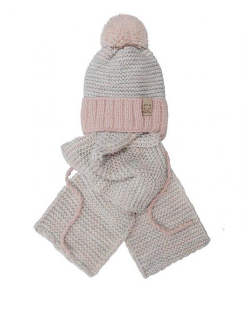 Zimowy komplet dla dziecka szalik + czapka 44-46 szary