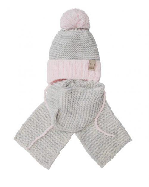 Zimowy komplet dla dziecka szalik + czapka 44-46 szary + róż