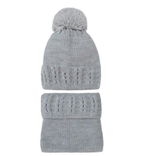 Zimowy komplet dla dziecka czapka + golf 44-48 szara