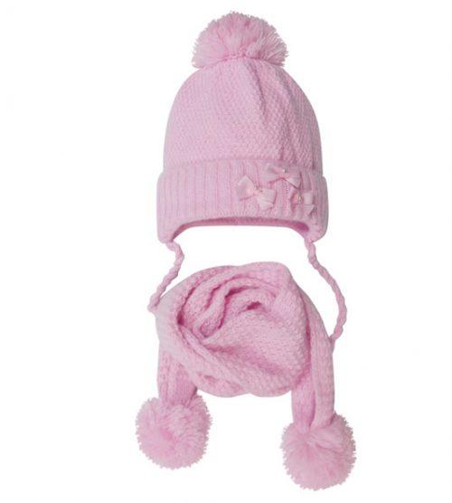 Zimowy komplet dla dziecka czapka + szalik 44-48 róż