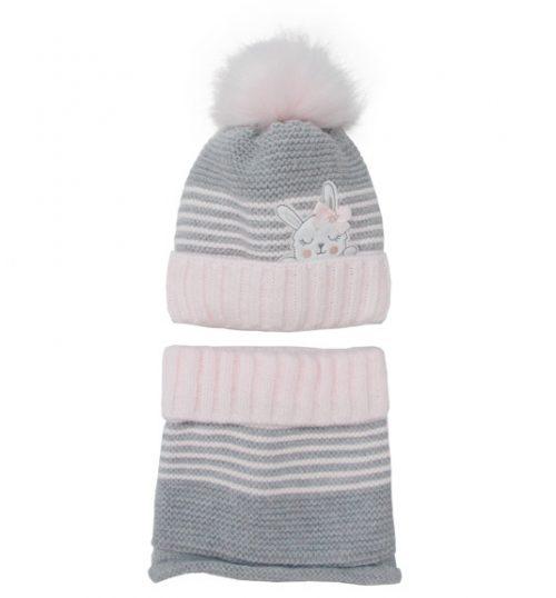 Zimowy komplet dla dziecka czapka + golf 44-48 szary róż