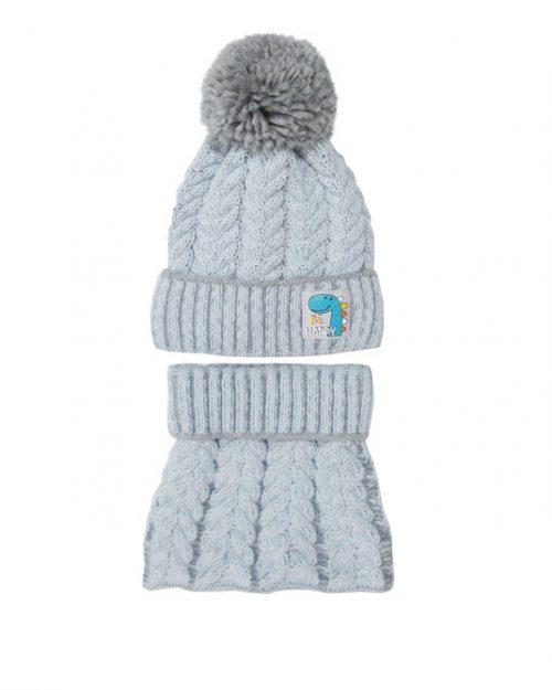 Zimowy komplet dla dziecka czapka + golf 46-48 błękit