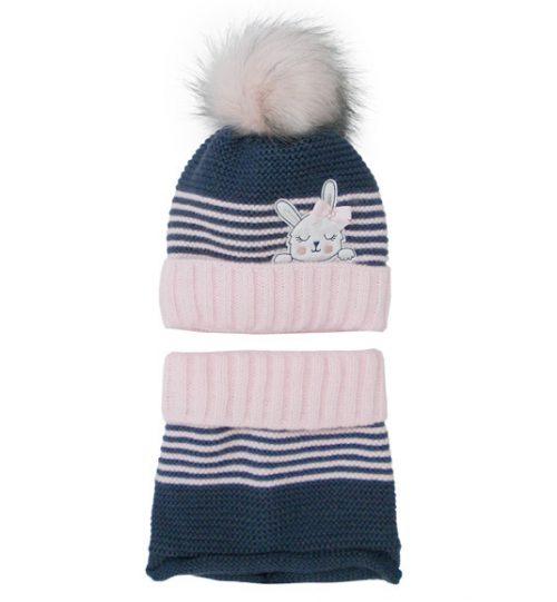 Zimowy komplet dla dziecka czapka + szalik 46-48 paski róż granat
