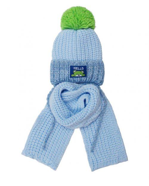 Zimowy komplet dla dziecka czapka + szalik 46-48 błękit