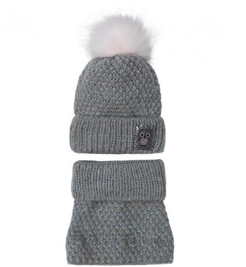 Zimowy komplet dla dziecka czapka + golf 50-52 szary