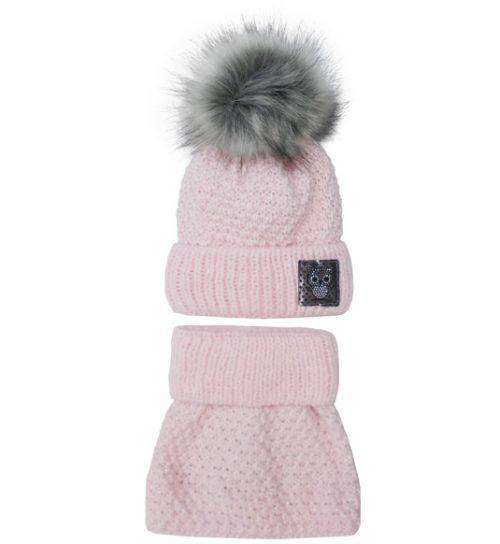 Zimowy komplet dla dziecka czapka + golf 50-52  różowa