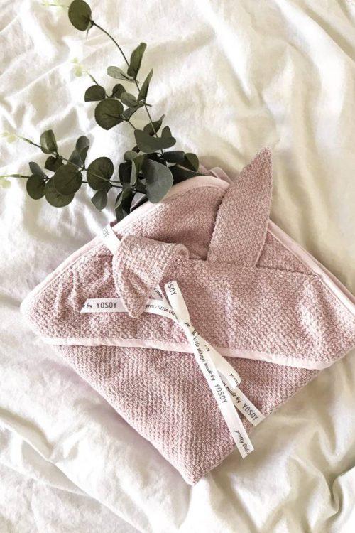Bambusowe okrycie do kąpieli ręcznik z kapturkiem Bambus 100x100 Yosoy brudny róż