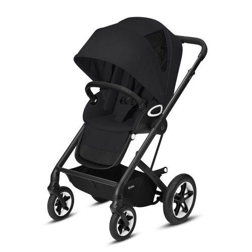 Cybex Talos S LUX wózek spacerowy z przekładanym siedziskiem kolor Deep Black rama Czarna