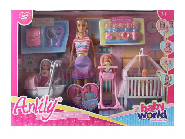 Lalka Anily 30cm zestazw z dziećmi + mebelki+ akcesoria