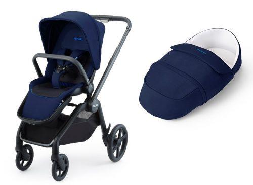 Wózek Recaro Celona zestaw 2w1 z lekką gondolą z funkcją śpiworka kolor Select Pacific Blue