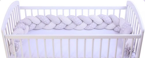 Warkocz ochraniacz do łóżeczka dziecięcego druk gwiazdki biały