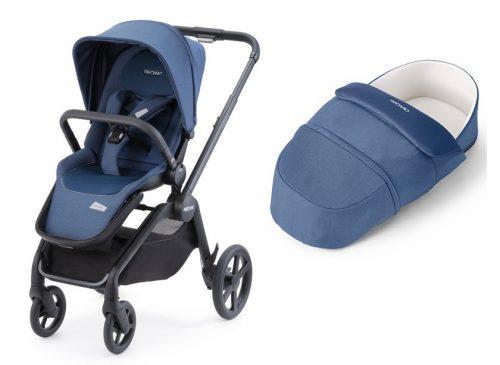 Wózek Recaro Celona zestaw 2w1 z lekką gondolą z funkcją śpiworka kolor Select Sky Blue