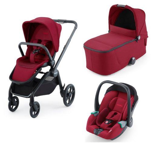 Wózek głęboko spacerowy Recaro Celona zestaw 3w1 z fotelikiem Avan kolor Select Garnet Red
