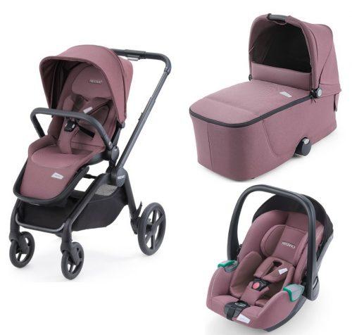 Luksusowy wózek głęboko spacerowy Recaro Celona zestaw 3w1 z fotelikiem 0-13 kg Recaro Avan kolor Prime Pale Rose