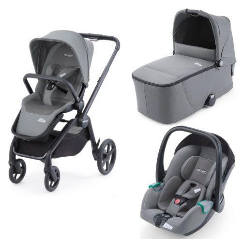 Recaro Celona wózek głęboko spacerowy zestaw 3w1 z fotelikiem Recaro Avan 0-13 kg kolor Prime Silent Grey