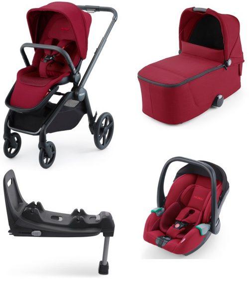Wózek głęboko spacerowy Recaro Celona zestaw 4w1 z fotelikiem Avan i bazą isofix kolor Select Garnet Red