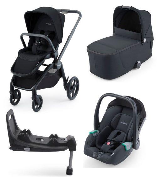 Recaro Celona kompaktowy wózek głęboko spacerowy zestaw 4w1 z fotelikiem 0-13 kg Avan isofix kolor Select Night Black