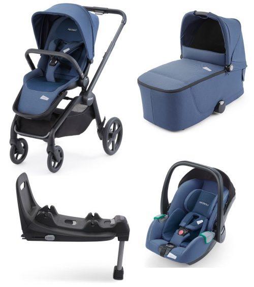 Recaro Celona kompaktowy wózek głęboko spacerowy zestaw 4w1 kolor Prime Sky Blue z fotelikiem Avan isofix 0-13 kg