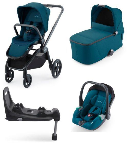Luksusowy wózek głęboko spacerowy Recaro Celona z fotelikiem Recaro Avan z bazą isofix zestaw 4w1 kolor Select Teal Green