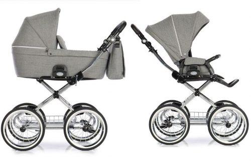 Wózek głęboko spacerowy w stylu retro Roan Coss Classic zestaw 2w1 kolor Titanium
