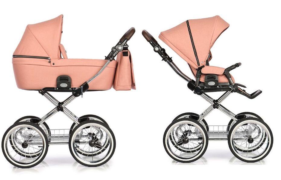 Roan Coss Classic wózek głęboko spacerowy w stylu retro zestaw 2w1 kolor  Rosy - Sklep internetowy Częstochowa OdNarodzin.pl