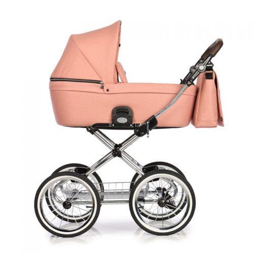 Roan Coss Classic wózek głęboko spacerowy w stylu retro zestaw 2w1 kolor Rosy