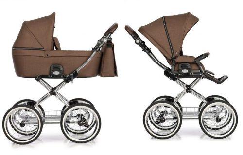 Roan Coss Classic wózek głęboko spacerowy retro zestaw 2w1 kolor Mocca
