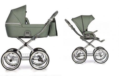 Roan Coss Classic wózek głęboko spacerowy retro zestaw 2w1 kolor Green Dots