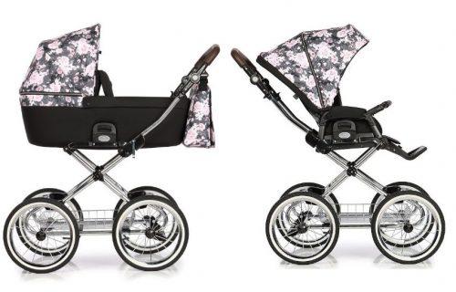 Wózek głęboko spacerowy w stylu retro Roan Coss Classic zestaw 2w1 kolor Night Flowers