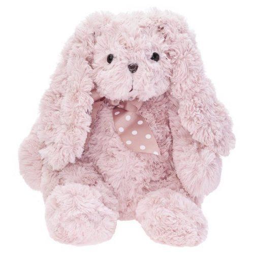 Pluszak zabawka maskotka dla dziecka Beppe królik caramenn pudrowy róż z kokardą 34cm