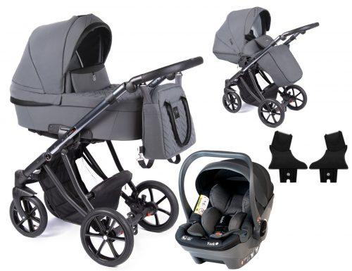 Wózek głęboko spacerowy Coletto Dante zestaw 3w1 z fotelikiem Babysafe York kolor D-01 rama Anodowana