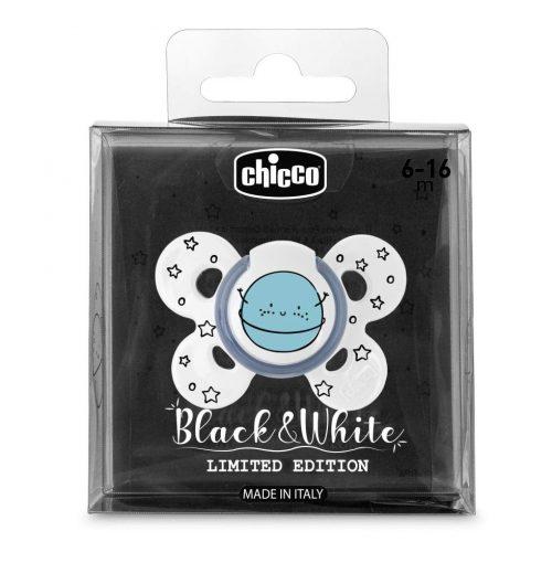 Chicco smoczek silikonowy ortodontyczny physio comfort black and white 6-16m planeta