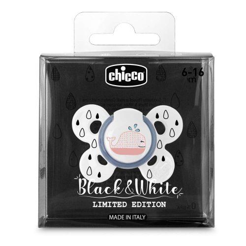 Chicco smoczek silikonowy ortodontyczny physio comfort black and white 6-16m wieloryb