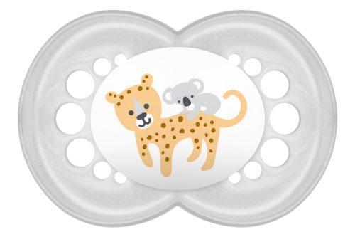 Silikonowy smoczek do uspokajania Mam Animals 6m+ kremowy leopard