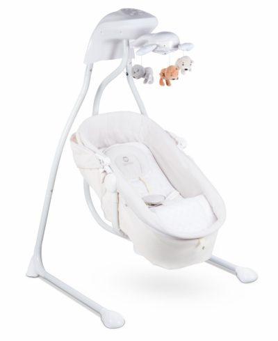 huśtawka dla niemowląt z moskitiera i zabawkami