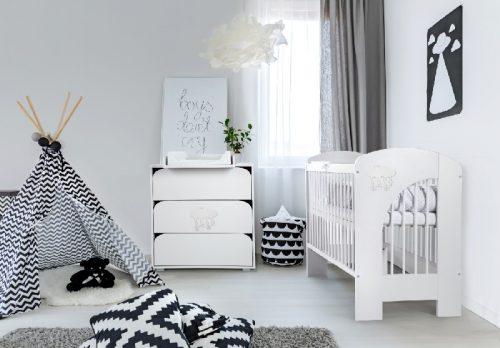 Zestaw mebli łóżeczko z szufladą 120x60 Nel Chmurka Biała Klupś + komoda meblowa + przewijak