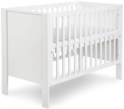 Zestaw mebli komoda z przewijakiem łóżeczko z barierką białe MDF Leon 120x60, Klupś