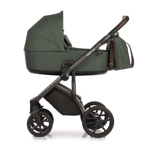 Roan Bass Next lekki wózek glęboko spacerowy zestaw 3w1 z fotelikiem Kite 0-13 kg kolor Night Green + Gratis!