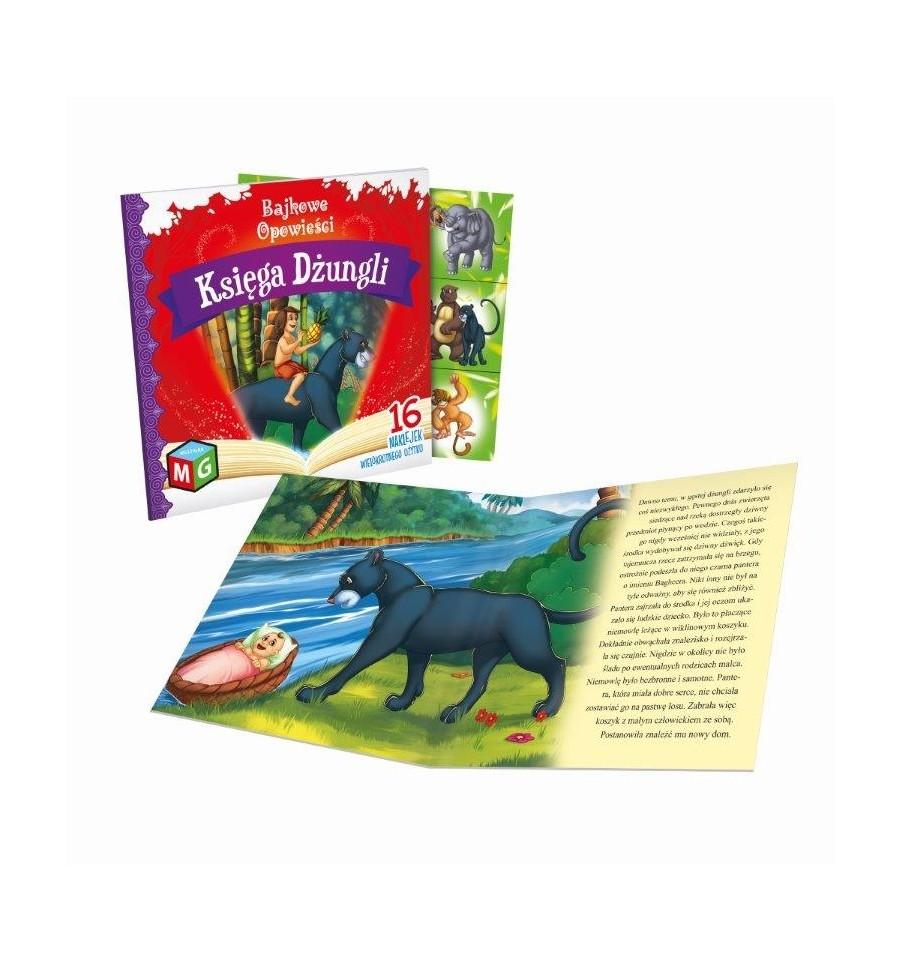 Księga dżungli bajkowe opowieści+16 naklejek wielokrotnego użytku