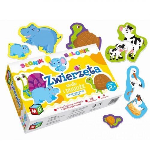 Puzzle ukladanka dla malucha zwierzęta duże i małe słonik balonik 2+
