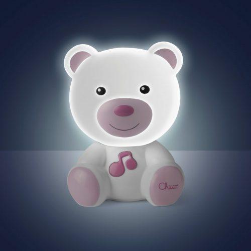 Nocna lampka led dla dziecka Miś różowy Chicco
