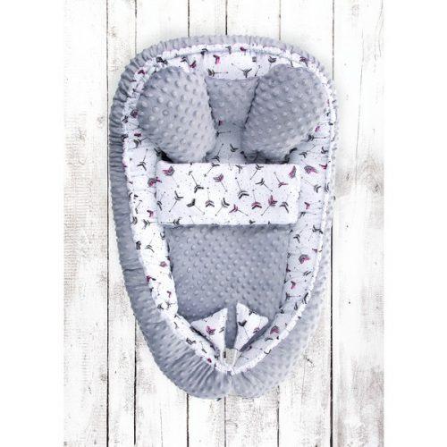 Kokon niemowlęcy z kołderką Belisima strzałki szaro różowe Belisima