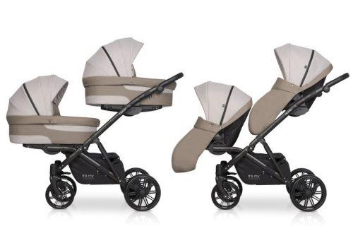 Wózek głęboko spacerowy dla dwójki dzieci Riko Team 2w1 kolor Cappucino