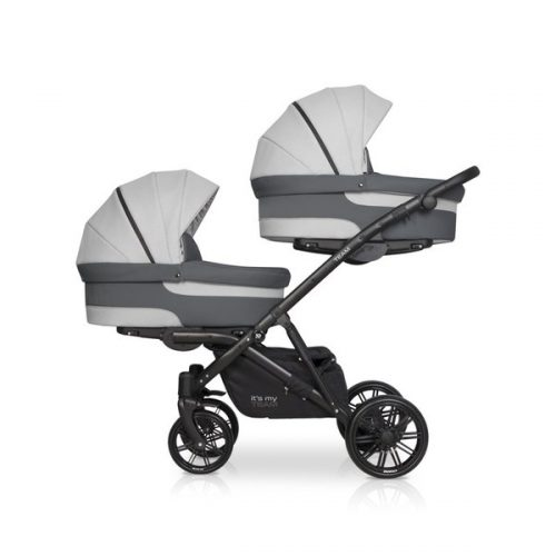 Riko Team wózek głęboko spacerowy dla dwójki dzieci kolor Grey Fox zestaw 2w1