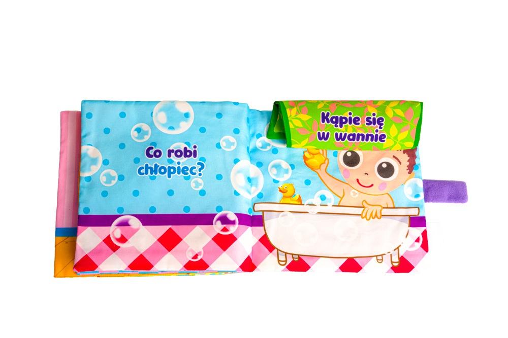 Jolly baby edukacyjna książeczka materiałowa co robi chłopiec? 0+ JB80463