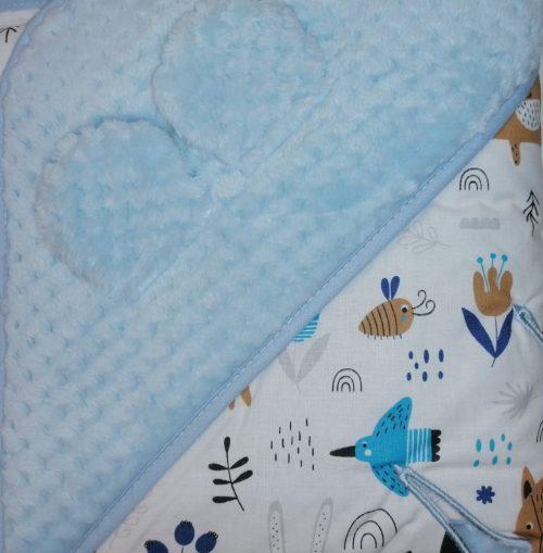 Kocyk do fotelika samochodowego śpiworek do fotelika niebiesko biały leśne zwierzęta 80x80cm