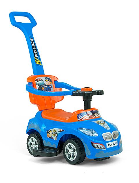 Milly Mally jeździk grający z pchaczem niebieski pomarańcz18m+